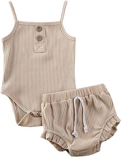 Newborn Kids Baby Girls Cute Sleeveless Buttons Vest Tank Top+Bottoms Shorts Pants 2Pcs Outfits Clothes Set