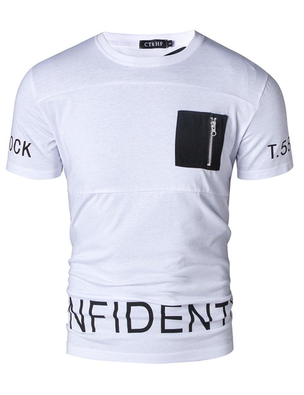 CT&HF Men's Round Collar Casual Summer T-Shirt (Large, White)