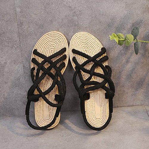 Tissé 37 Black Chaussures à XING GUANG Été Plat Black 39 Femmes Corde La Plage Main Baguage Chaussures à Nouveau Paille Sandales qfATOf