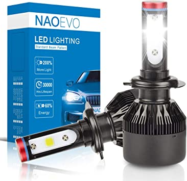 NAO H7 LED Headlight all-in-one conversion kit Super Bright cool white COB 8000LM 6000K 1 year warranty