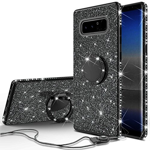 [GW USA] Glitter Phone Case Kickstand Compatible for Galaxy Note 9 Case,Samsung Galaxy Note 9 Cute Bling Diamond Rhinestone Bumper Ring Stand Shock Proof Sparkly Clear Cover for Girls Women - Black