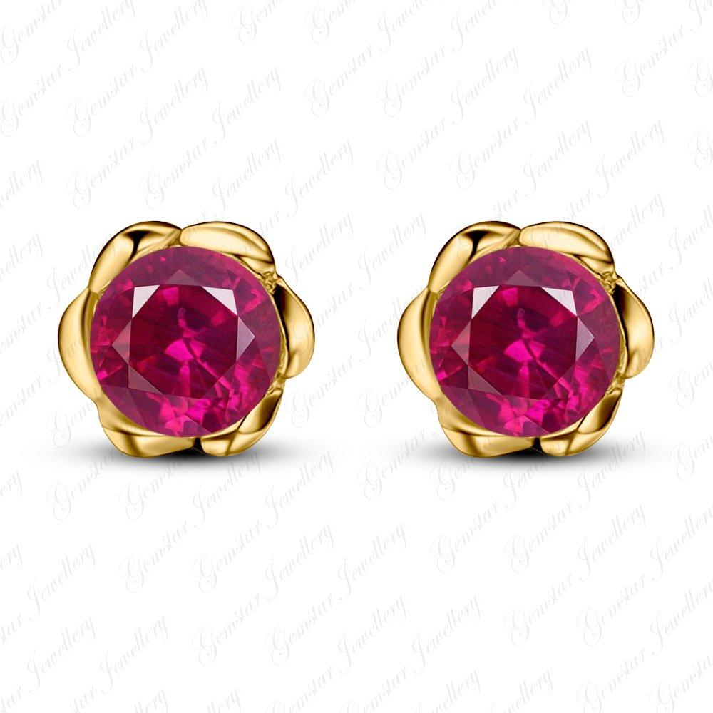 Gemstar Jewellery Red Ruby 18K Gold Finishing Screw Back Wedding Flower Solitaire Stud Earrings