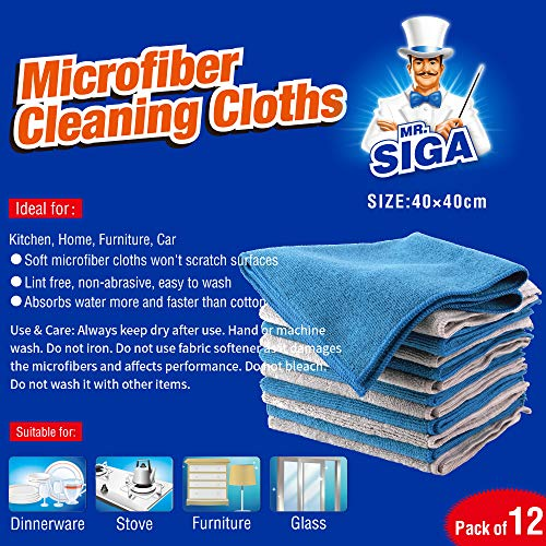 MR. SIGA Microfiber Cleaning Cloth, Pack of 12, Size: 15.7'' x 15.7'' by MR.SIGA (Image #5)