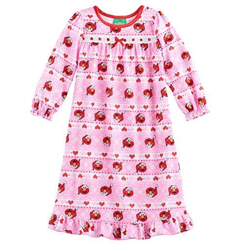 Sesame Street Elmo Girls Flannel Granny Gown Nightgown (4T, Pink)
