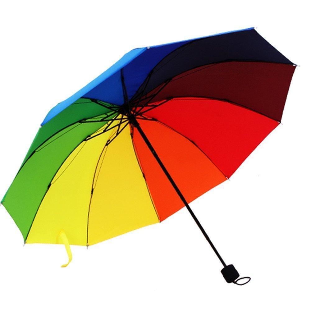 Katomi paraguas plegable con los colores del arco iris: Amazon.es: Equipaje