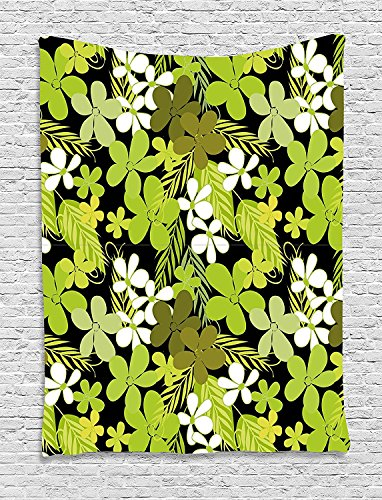 asddcdfdd Sage Tapestry, Fresh Nature Theme Wildflowers Leaves Bloom Foliage Nostalgia Vintage Abstract, Wall Hanging for Bedroom Living Room Dorm, 60 W X 80 L Inches, Green Black ()