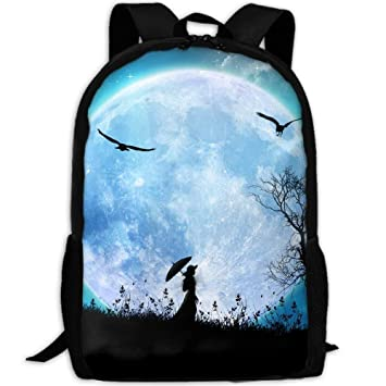 Image Unavailable. Image not available for. Color  Backpack Girl And Dog  Under The Moon Womens Laptop Backpacks Shoulder Bag Travel Daypack b1f35fa3147bf