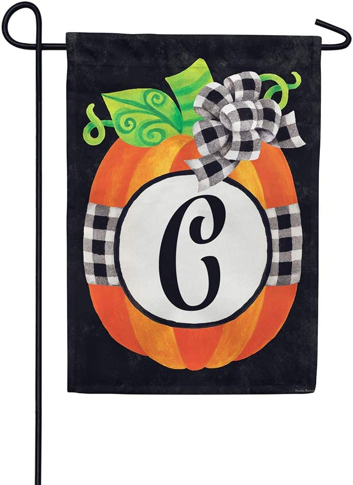 Gingham Pumpkin - Letter C - Embroidered Monogram - Decorative Double Sided Flag - Garden Size, 12 Inch X 18 Inch, Licensed, Copyright & Trademark CDI. USA