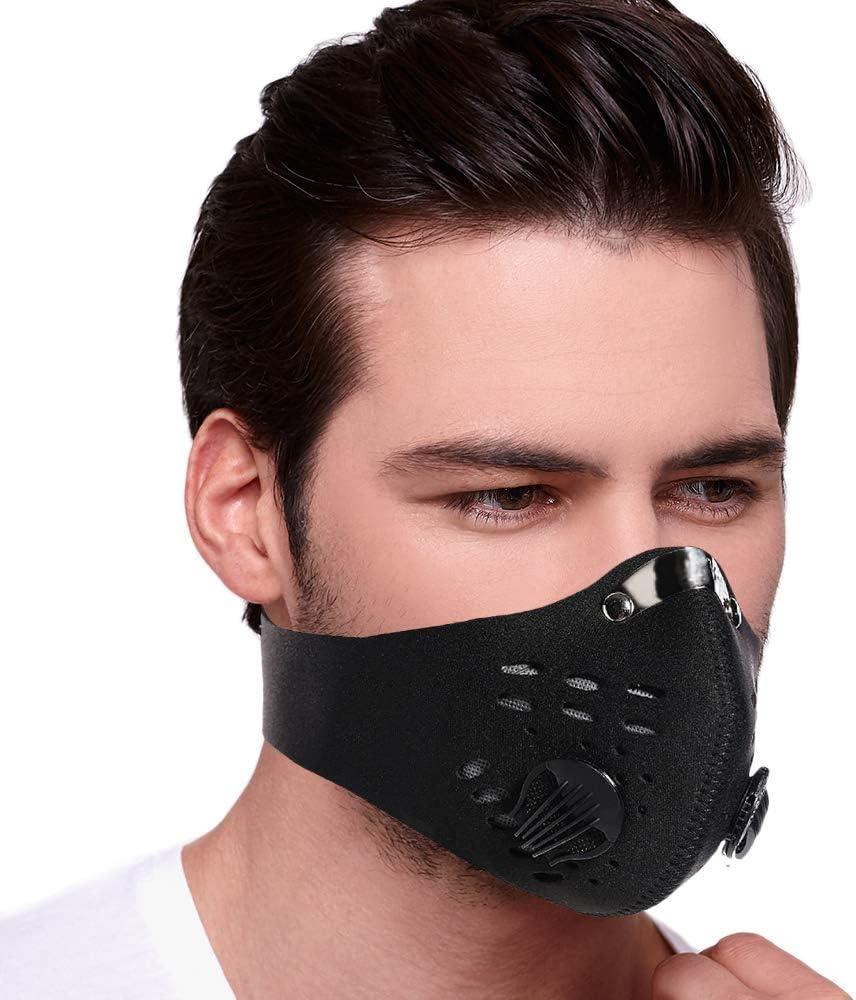 Máscara facial anticontaminación Tanness PM2.5 para deportes de respiración media cara ajustable antiviento/polvo/frío con filtro de carbón activado para deportes al aire libre motocicleta bicicleta