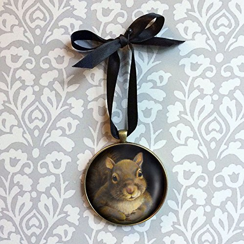 Squirrel Ornament - Squirrel Portrait Miniature - Christmas Ornament - Squirrel Wall Hanging - Squirrel Lover Gift - Stocking Stuffer - Secret Santa ()