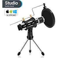 Youtube Microphone, ZealSound Condenser Studio Microphone with Built-in Sound Card and Echo Effect, Vocal Recording Computer Microphone with Tripod Stand for PC Laptop Tablet and Phone (Silver)