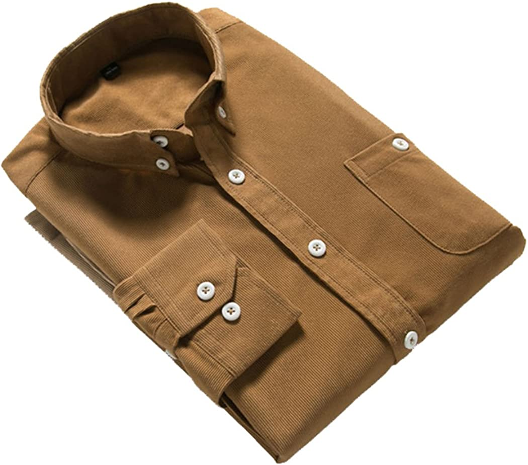 UNINUKOO Mens Mordern Vintage Long Sleeve Leisure Shirt