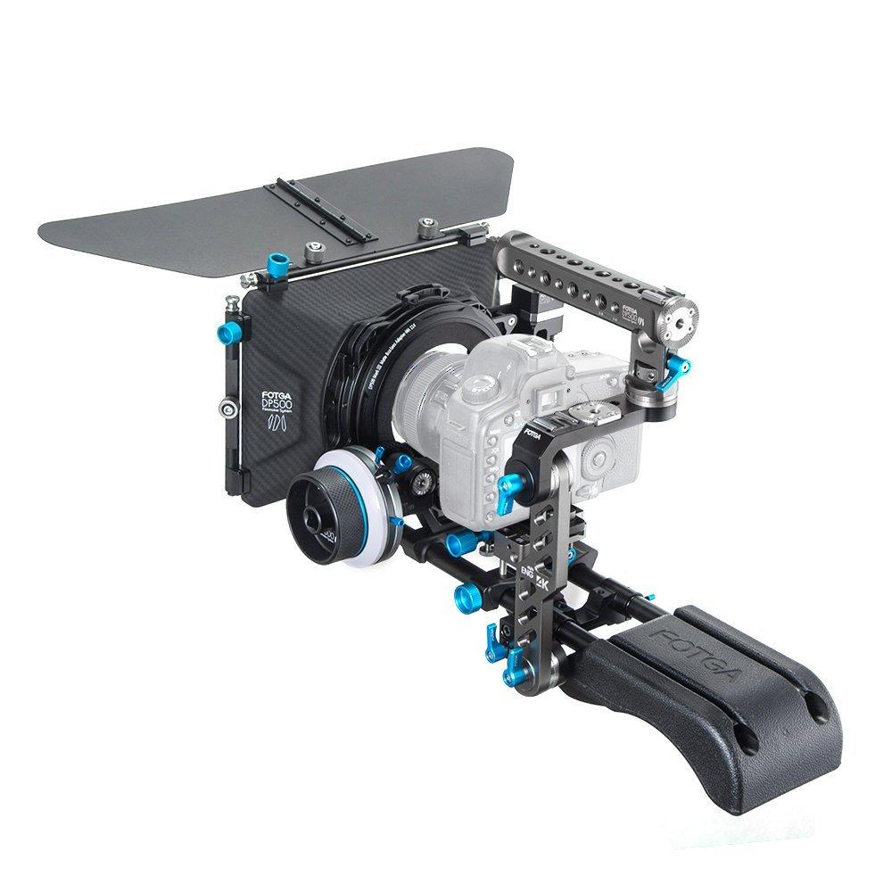 Fotga DP500III 15mm Standard Rail Rod Filmmaking System Quick Release Set Up Camera Cage Follow Focus Matte Box DSLR Rig for 5DII III IV A7 A7R A7 II III D500 D850 Cameras by FOTGA