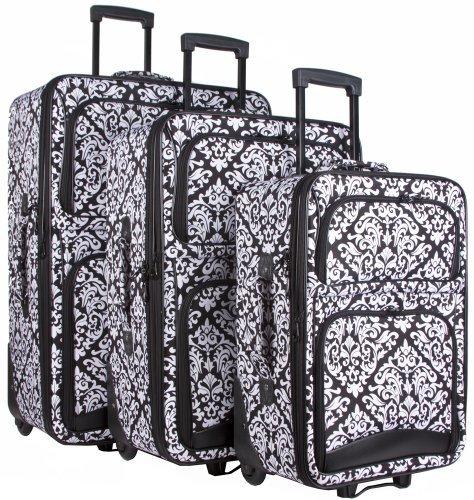 Ever Moda Damask 3 Piece Luggage Set (Black) by Ever Moda