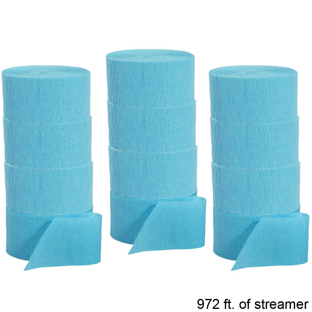 Crepe Paper Party Streamer Decorations 12 - 81 foot Rolls for Party Wedding Shower DIY (Aqua Blue)