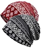 Qiabao Women's Floral Printed Chemo Cap Hat Slouchy Beanie (2 Pack-C)