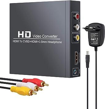Neoteck HDMI a RCA y HDMI Convertidor 1080P@60Hz HDMI a HDMI+3RCA CVBS Adaptador