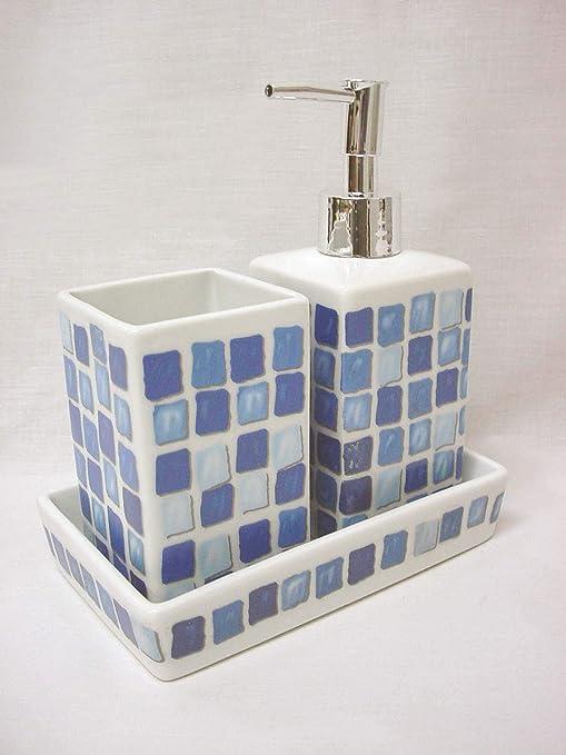 Juego 3 Piezas BAÑO Accesorios SOBREMESA Lavabo Porcelana DOSIFICADOR 325ML Vaso BAÑO Bandeja Mosaico Azul