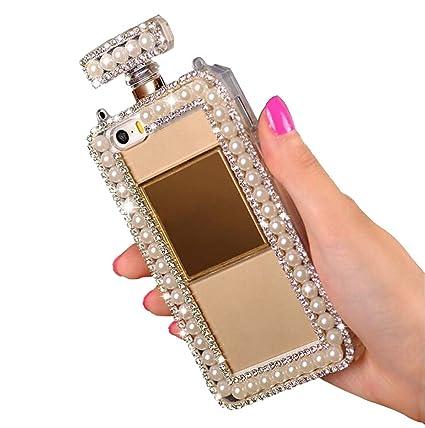 official photos 965ee c1066 Galaxy S9 Plus Case,Fusicase Bling Diamond Perfume Bottle Design 3D  Handmade Shiny Crsyatl Sparkle Rhinestone Pearls Chain Bumper Soft TPU  Handbag ...