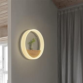 NOHOPE Moderne Massivholz Runde Dual Use Warmes Licht Wandleuchte (kleines  Regal) Für Schlafzimmer