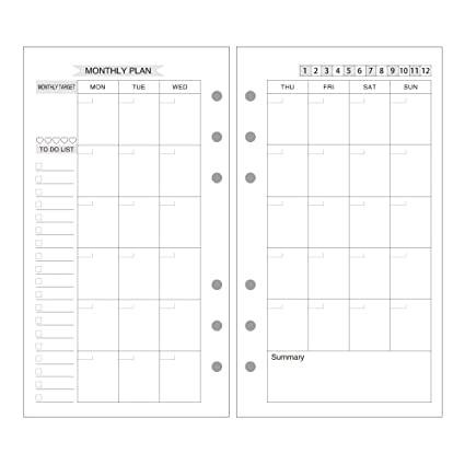 amazon com evz a6 refill month planner paper 6 holes ring binder