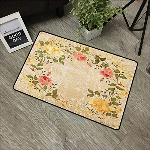 Door mat W19 x L31 INCH Vintage,Oval Shape Floral Crown with Leaves and Roses Over Damask Motif Shabby Boho, Yellow Green Pink Easy to Clean, no Deformation, no Fading Non-Slip Door Mat Carpet