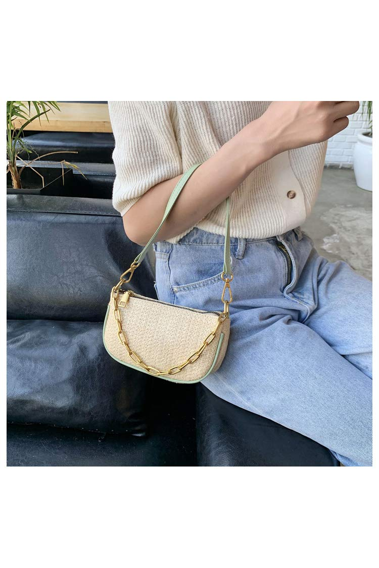 Ulisty kvinnor liten halmväska mini fyrkantig väska vävd väska mode axelväska vardaglig handväska crossbody väska armhålsväska gRÖN