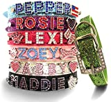 Bling Stuff For Fun TM, Personalized Customized PU Leather Glitter Rhinestone Bling Name Collar for Dogs & Puppies