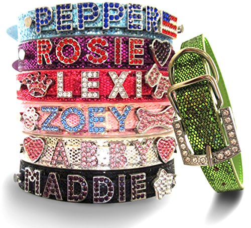 Leather Rhinestone Dog Collar - Bling Stuff For Fun TM, Personalized Customized PU Leather Glitter Rhinestone Bling Name Collar for Dogs & Puppies