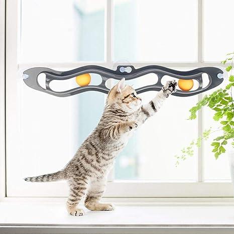 KOBWA - Pelota de pista para gato, ventosa para ventana, juguete interactivo para gato, juguete divertido para ...