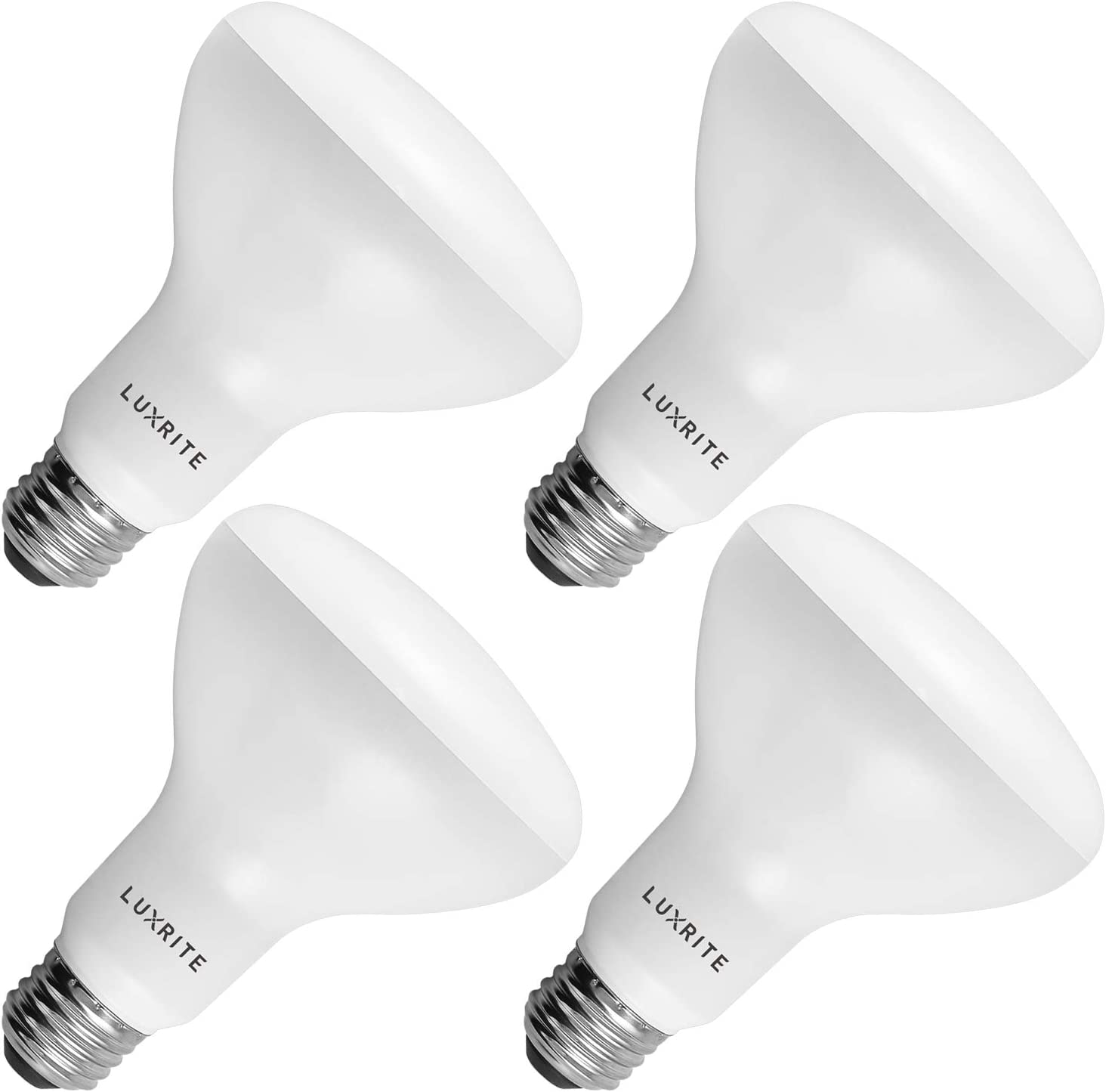 Amazon Com 4 Pack Br30 Led Bulb Luxrite 65w Equivalent 4000k Cool White Dimmable 650 Lumens Led Flood Light Bulbs 9w E26 Medium Base Damp Rated Indoor Outdoor Living Room Kitchen Recessed Lighting Home