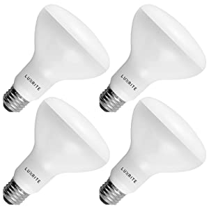 4-Pack BR30 LED Bulb, Luxrite, 65W Equivalent, 6500K Daylight White, Dimmable, 650 Lumens, LED Flood Light Bulbs, 9W, E26 Medium Base, Damp Rated, Indoor/Outdoor - Living Room, Kitchen, and Recessed