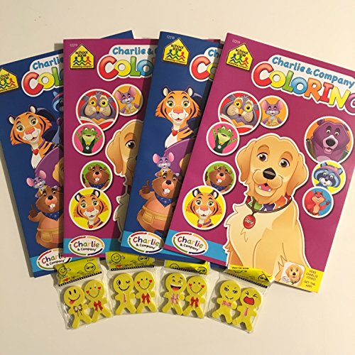 Set Of 4 Charlie And Company Coloring Books With Bonus Pack Of 8 Emoji Erasers FLASH SALE (College Girl Halloween Pics)