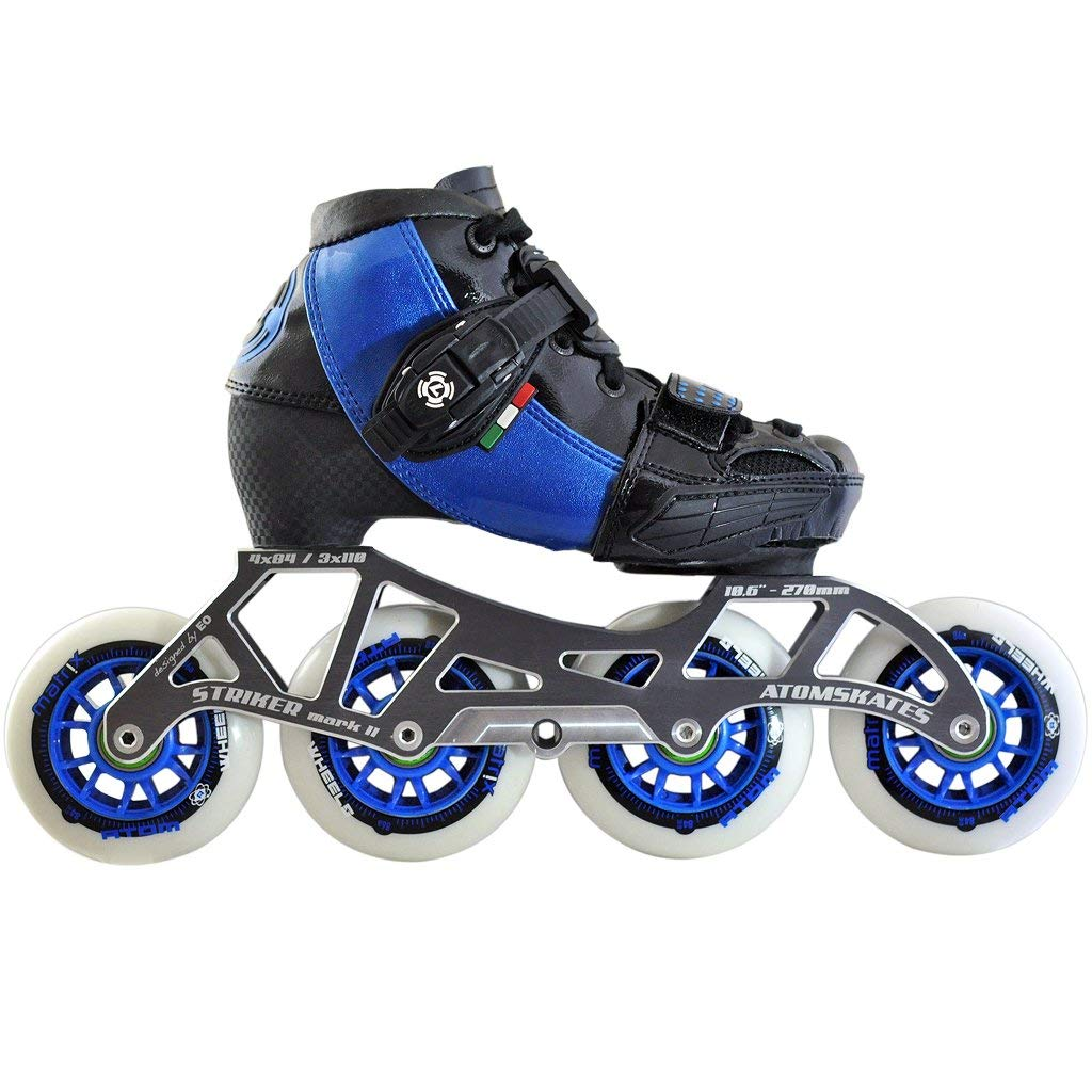 Atom Luigino Kid's 4 Wheel Adjustable Challenge Outdoor Inline Skate Package (Size 2-5, Blue) by Atom Skates (Image #1)