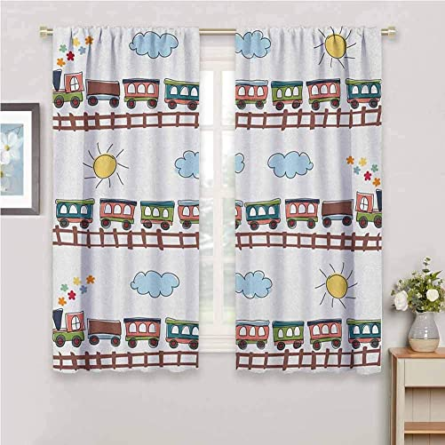 Jinguizi Boys Light Curtain Cartoon Style Train and Tracklines on Sunny Day Hand Drawn Sun and Clouds Flowers Blackout Curtains for Bedroom Multicolor 72 x 72 inch