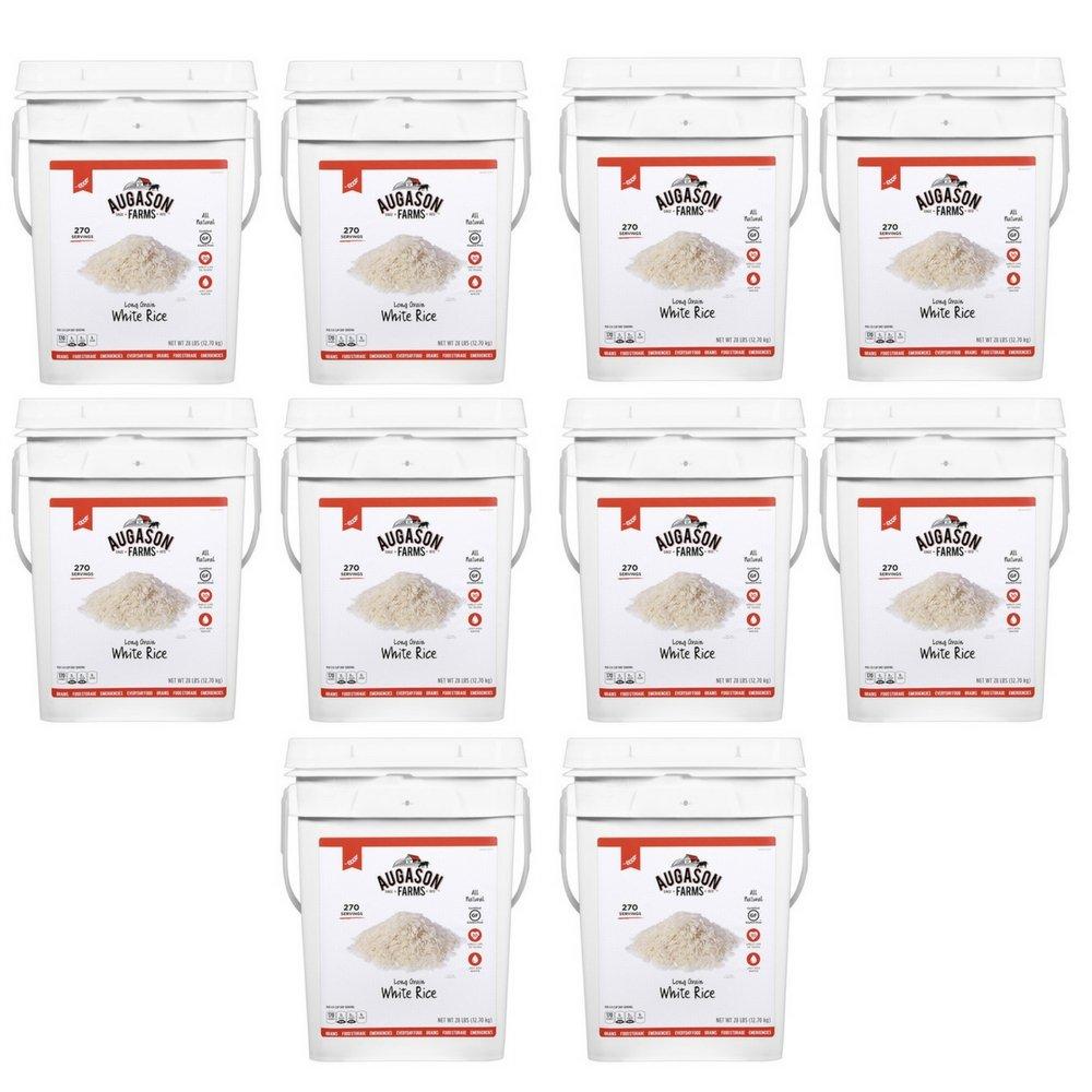 Augason Farms Long Grain White Rice Emergency Food Storage 28 Pound Pail (10 Pail) by Augason Farms