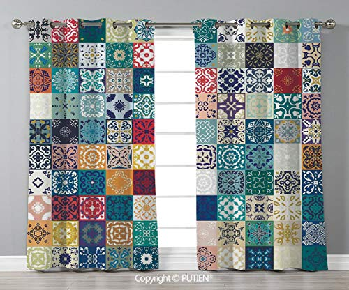 Grommet Blackout Window Curtains Drapes [ Moroccan,Patchwork Pattern with Different Colorful Arabic Figures Original Tunisian Artful,Multicolor ] for Living Room Bedroom Dorm Room Classroom Kitchen Ca