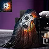 smallbeefly Sports Decor Digital Printing Blanket Soccer Ball on Fire and Water Flame Splashing Thunder Lightning Abstract Summer Quilt Comforter