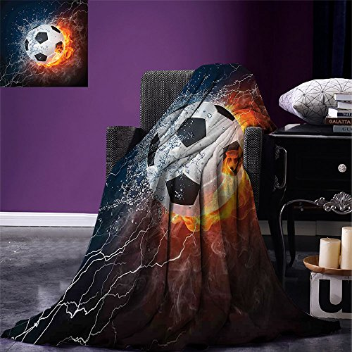 smallbeefly Sports Decor Digital Printing Blanket Soccer Ball on Fire and Water Flame Splashing Thunder Lightning Abstract Summer Quilt Comforter by smallbeefly