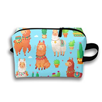 b294fa8b11a0 Amazon.com : Mexican Cartoon Cute Alpaca Lama Cosmetic Bags Portable ...