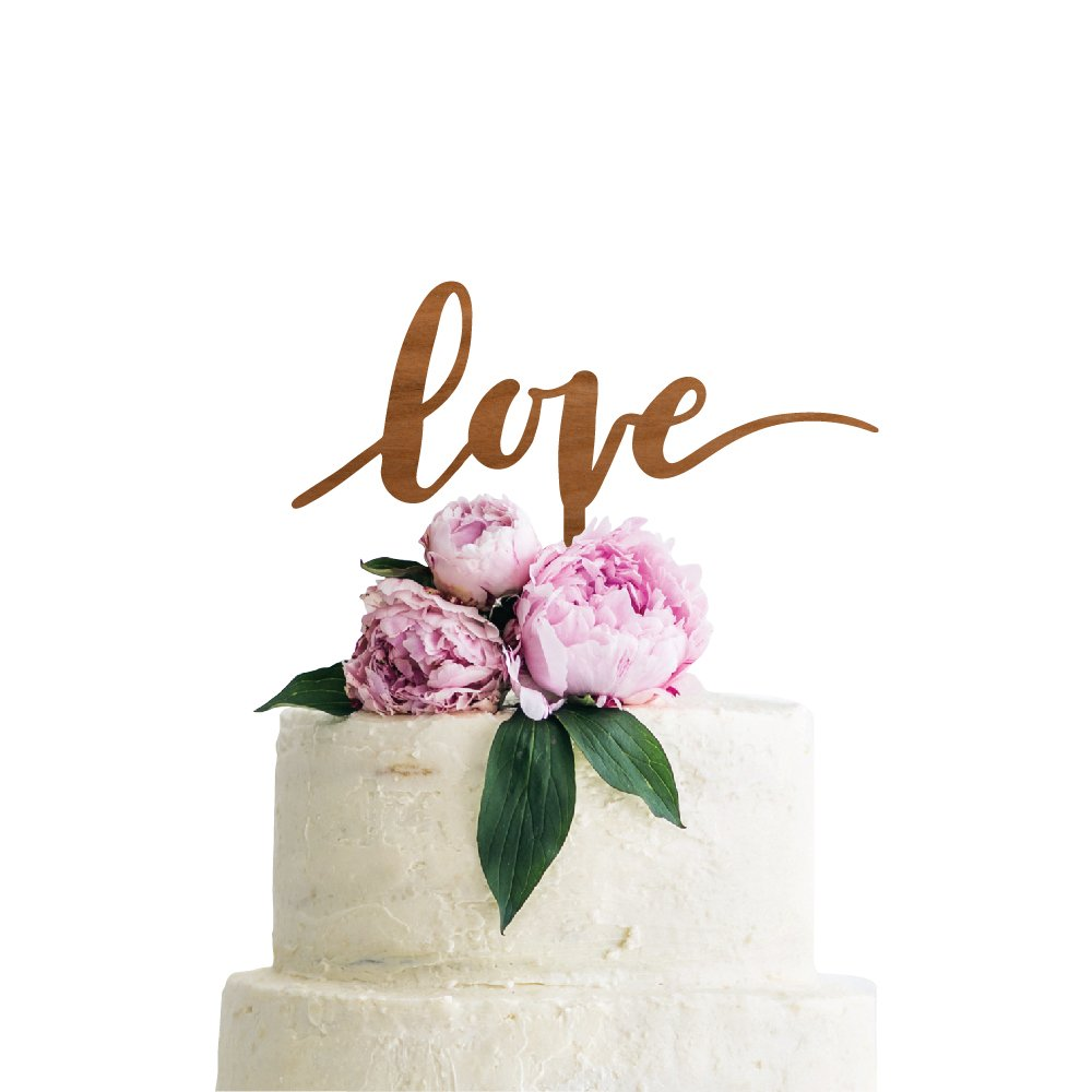 P Lab Love Wedding Cake Topper Rustic Wood Decoration Keepsake Engagement Favors for Special Event Cherry Wood
