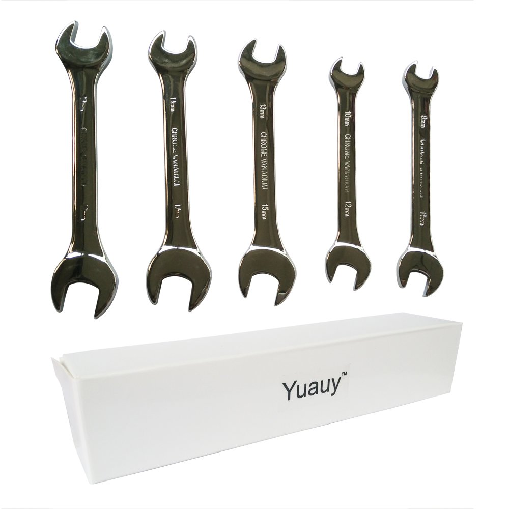 Yuauy 9 mm thru 18 mm Double Ended Wrench Spanner Tool Kit Bike Bicycle Cycling Drop Forged Steel and Fully Polished Chrome Vanadium Plated