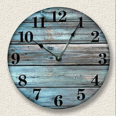 Weathered boards image Wall Clock Distressed Teal Rustic Cabin Wall Decor