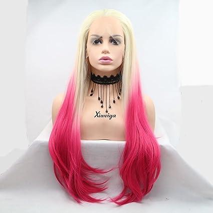 Xiweiya Peluca de pelo largo recto de encaje rosa natural frontal peluca Ombre rubio sintético encaje ...