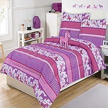 4 Piece Bright Unicorn Motif Patchwork Comforter Set Twin Size, Printed Adorable Unicorns Horses Geometric Polka Dots Stripes Bedding, Premium Modern Animal Lovers Girls Bedroom Design, Purple, Pink
