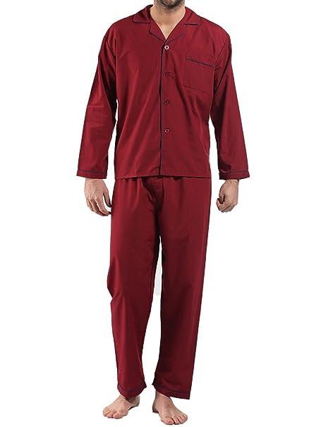 Generic - Pijama - para Hombre Rojo Granate 3XL
