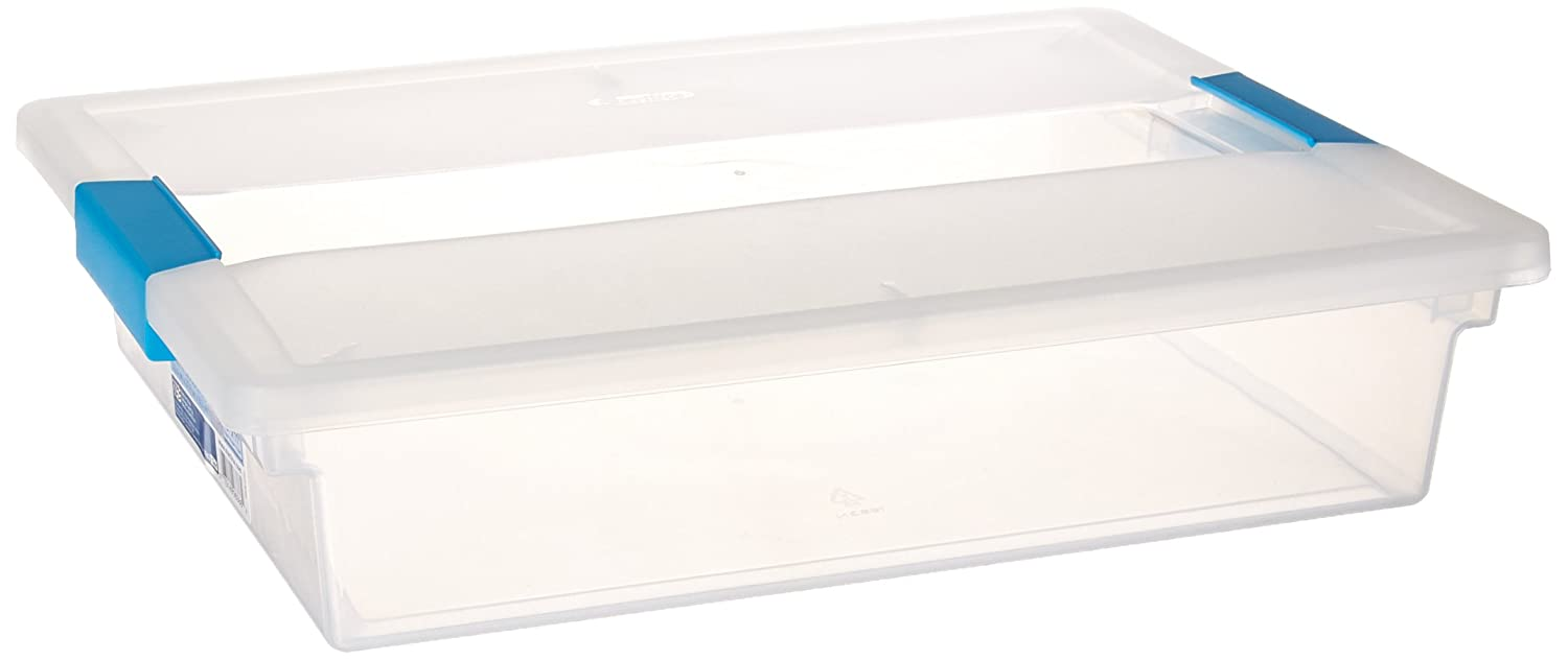 Sterilite 19638606 Large Clip Box, Clear with Blue Aquarium Latches, 6-Pack