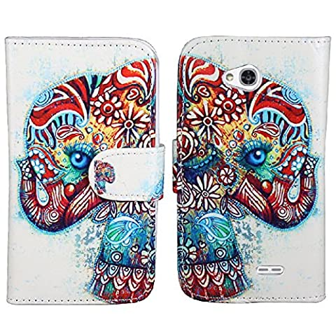 SOGA PU Leather Magnetic Flip Design Wallet Case for LG Ultimate 2 / L41C - Exotic Elephant [SWF32] (Lg L41c Phone Case Wallet)