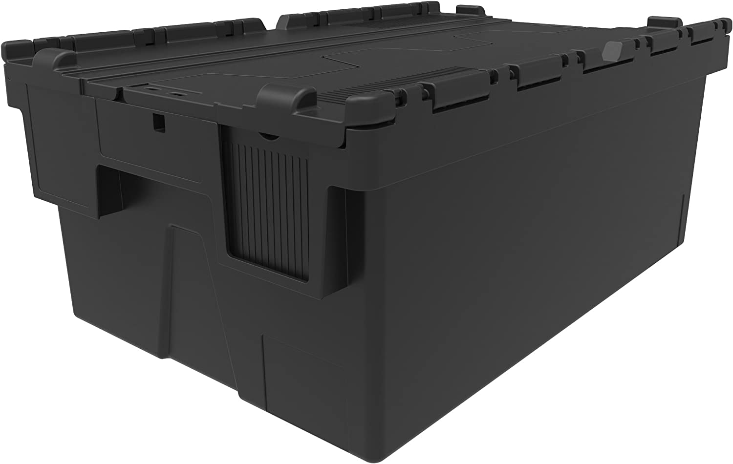 New Black 44 Litre Plastic Storage Boxes Containers Crates Totes with Lids 10 L 600 x W 400 x H 250 mm Industrial Stackable//Nest Box