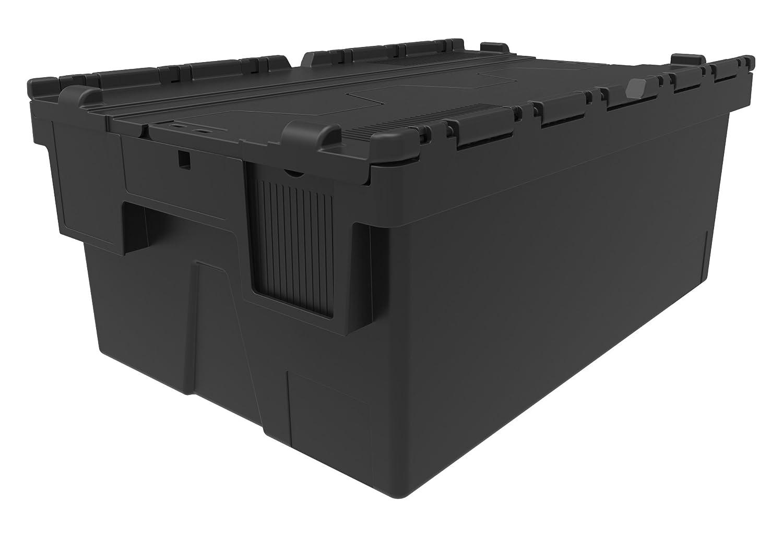 Nuevo Negro 44 L contenedores de plástico cajas de almacenamiento cajas - Patrón para bolsos con tapas - L 600 x 400 x 250 mm apilables Industrial/ - Caja ...